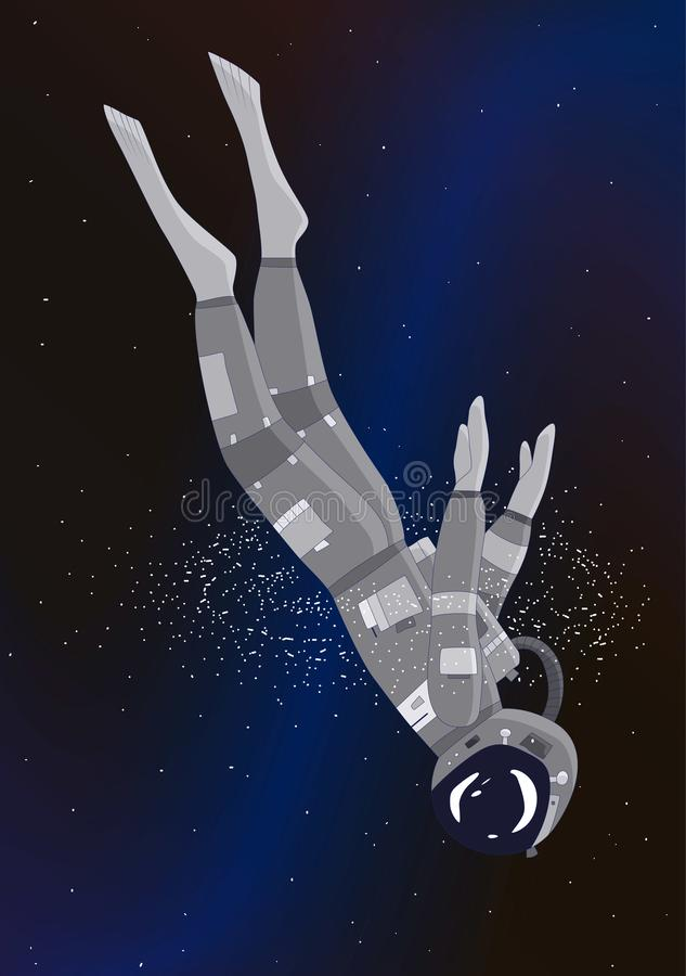 Astronaut dives in galaxy, vector illustration royalty free illustration
