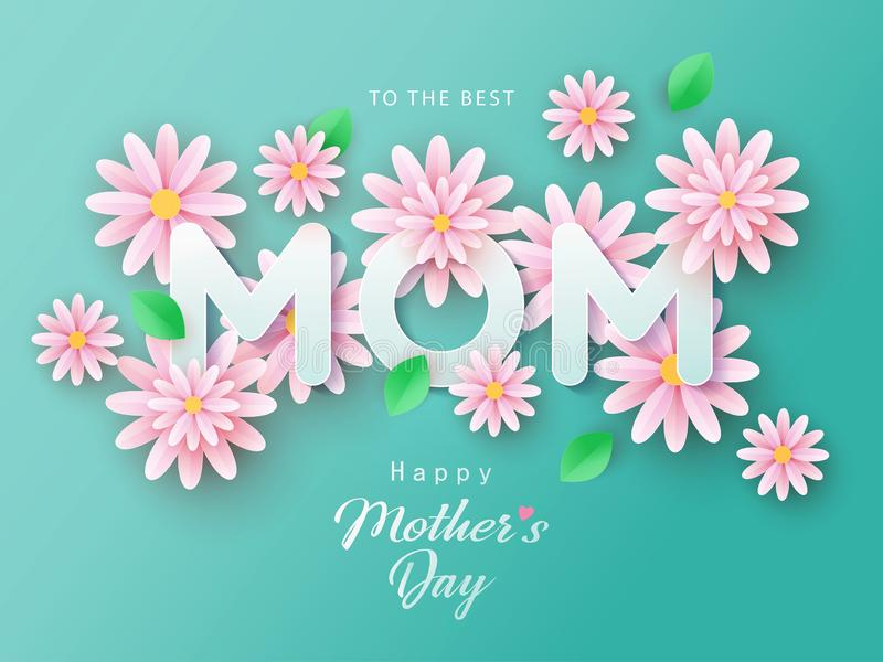 Нappy Mothers Day background with beautiful paper cut chamomile flowers. vector illustration