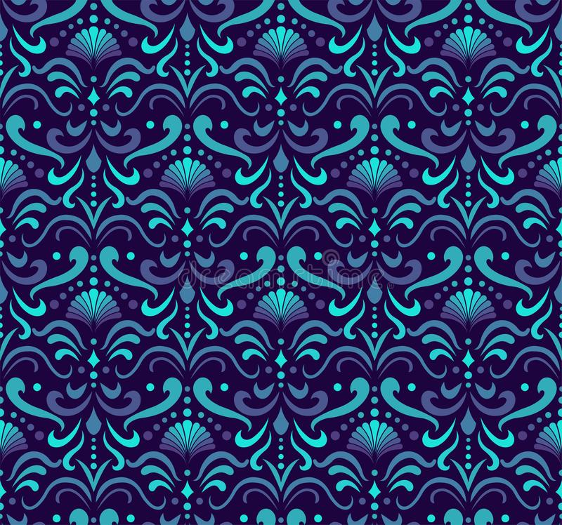 Vector Floral Ornamental Seamless Pattern. Geometric Flower Stylish Texture. Abstract Retro Tile Texture. Decorative Tiles Vector Seamless Pattern. Portuguese royalty free illustration