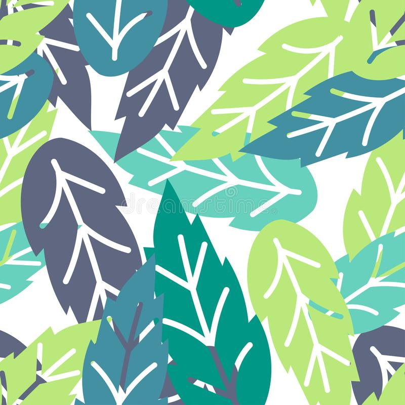 Seamless pattern of green tropical leaves. Vector design. Abstract. royalty free illustration