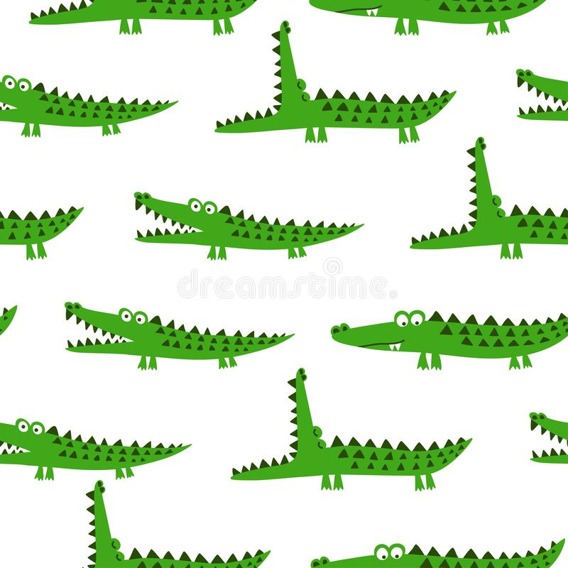 Crocodile pattern design with several alligators - funny hand drawn doodle, seamless pattern. vector illustration