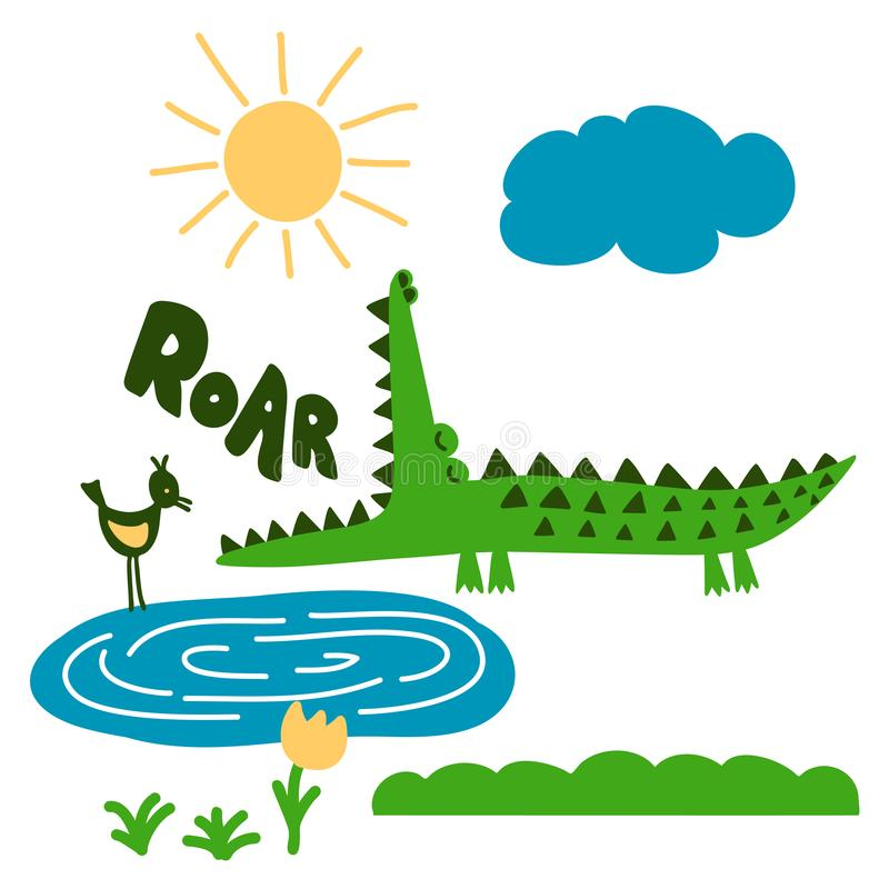 Crocodile and nature print design with `roar` text- funny hand drawn doodle, cartoon alligator. stock illustration