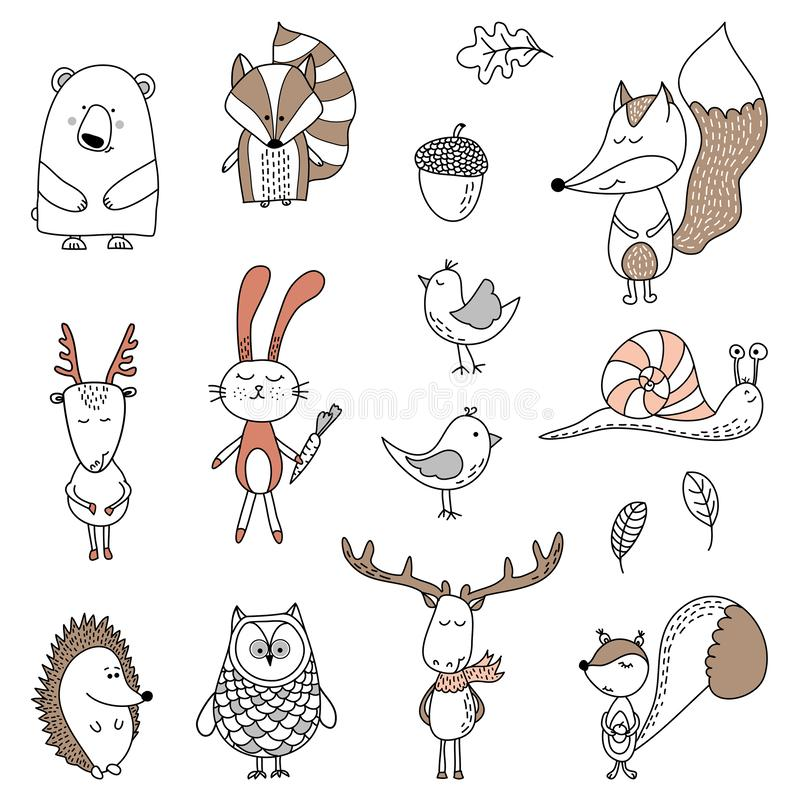 Vector hand drawn doodle character illustrations. royalty free illustration
