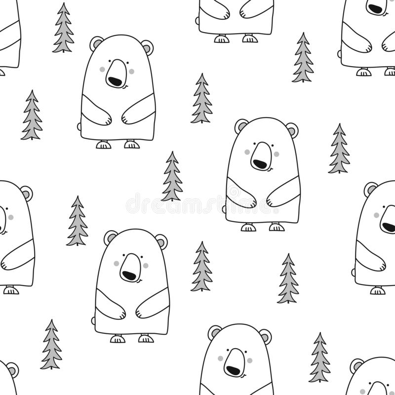 Bear pattern design with pine tree. royalty free illustration