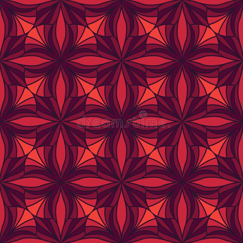 Vector Floral Ornamental Seamless Pattern. Geometric Flower Stylish Texture. Abstract Retro Tile Texture. Decorative Tiles Vector Seamless Pattern. Portuguese stock illustration