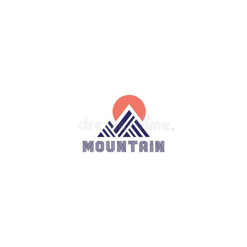 Mountain logo with line vector illustration