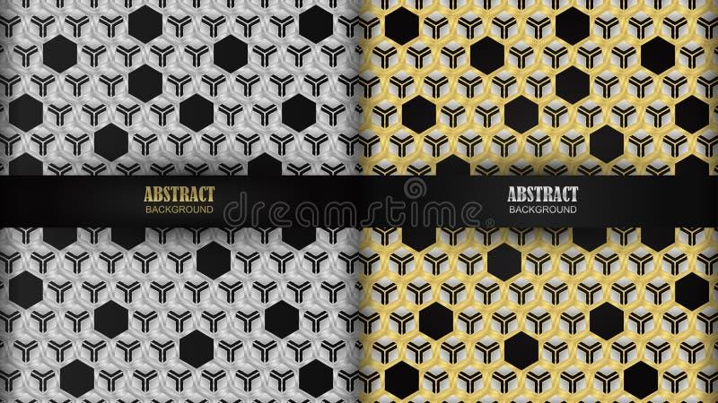 ็Hexagonal pattern has silver and gold as the background. royalty free illustration