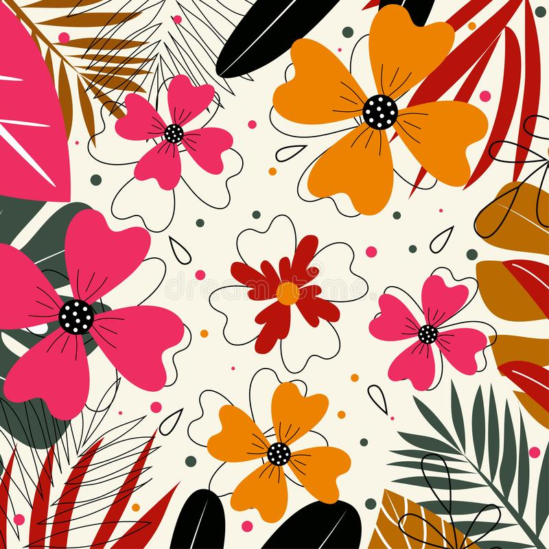 Pink and orange flowers on a light background. Abstraction, vector design. vector illustration