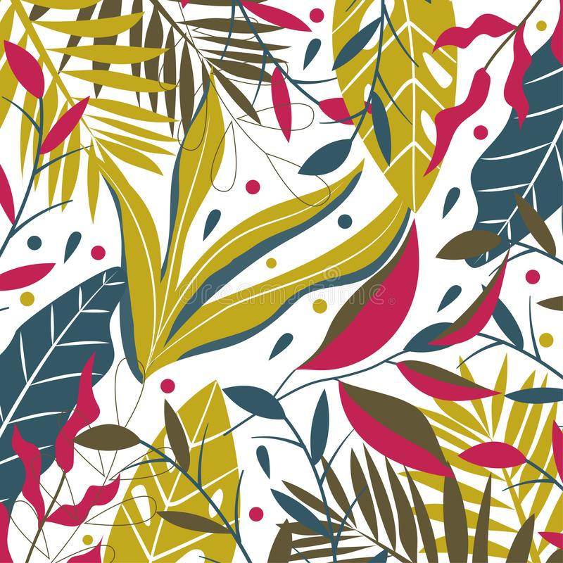 Orange and green tropical leaves on a dark background. Vector design. Orange and green tropical leaves on a dark background. Vector royalty free illustration