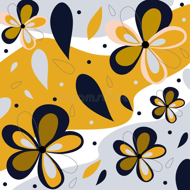 Seamless pattern of blue and purple flowers and tropical leaves on orange background. Vector design. Seamless pattern of blue and purple flowers and tropical royalty free illustration