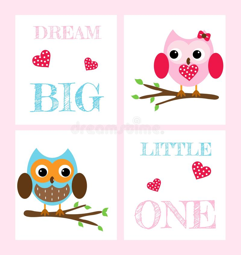 Set of postcards with cute owls and inscriptions royalty free illustration