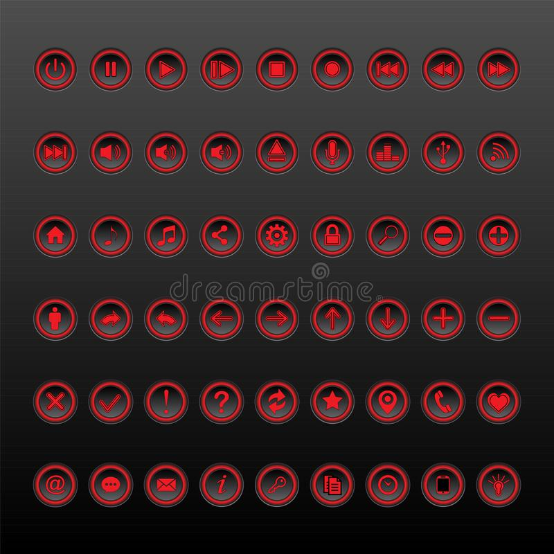 Red and black Button Set collection vector illustration
