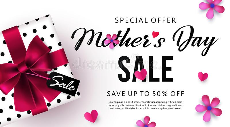 Mothers Day sale banner or poster design with beautiful gift box, paper hearts and flowers stock illustration