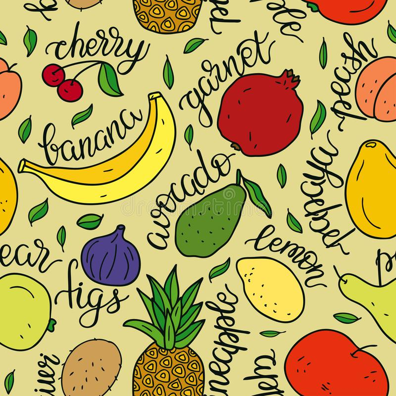 Seamless pattern fruits with inscriptions. Vector hand drawn illustration for banners, websites, packaging, cook book or advertisi vector illustration