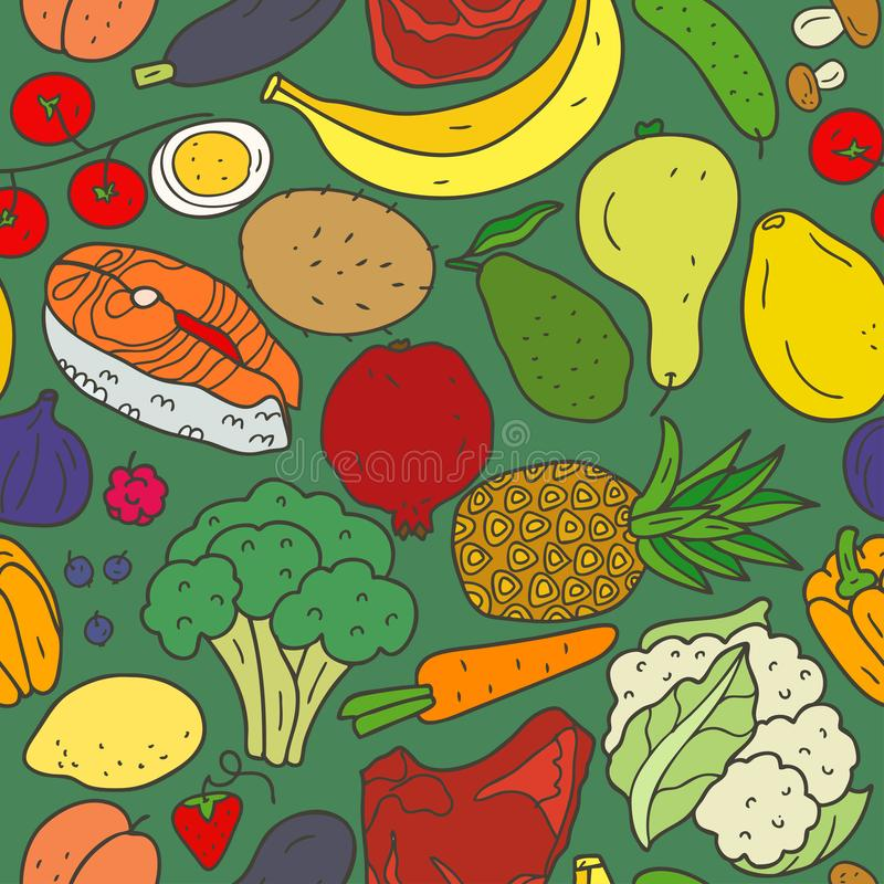 Seamless pattern healthy food with inscriptions on dark background. Vector hand drawn illustration for banners, websites, cook book or advertising stock illustration