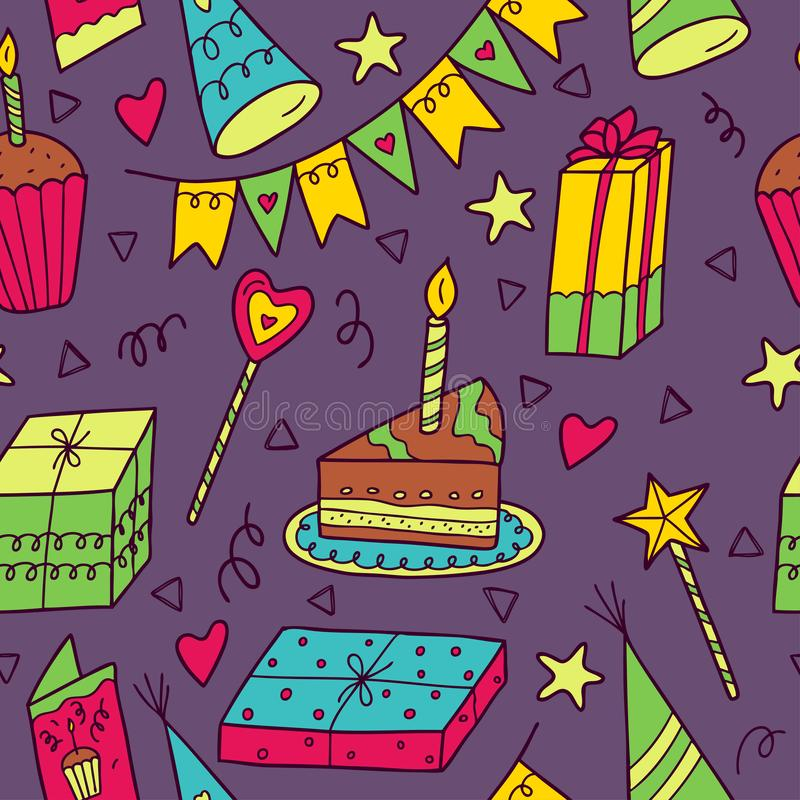 Happy birthday seamless colorful pattern on a dark background. royalty free illustration