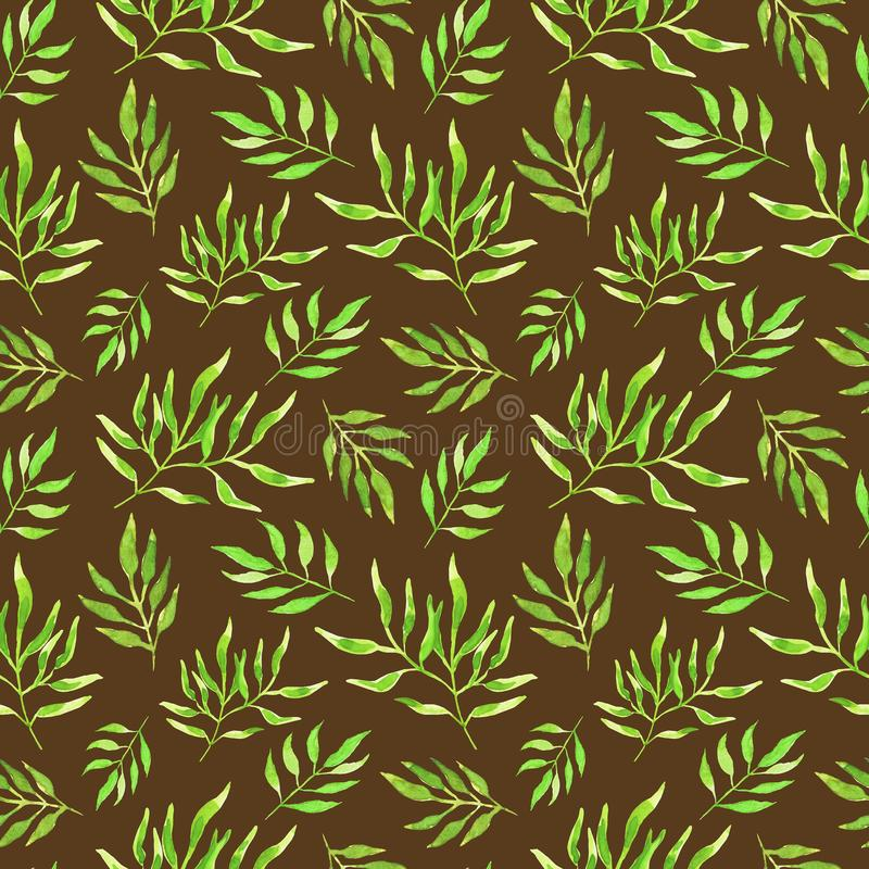 Green watercolor leaves on brown background. Seamless pattern stock images