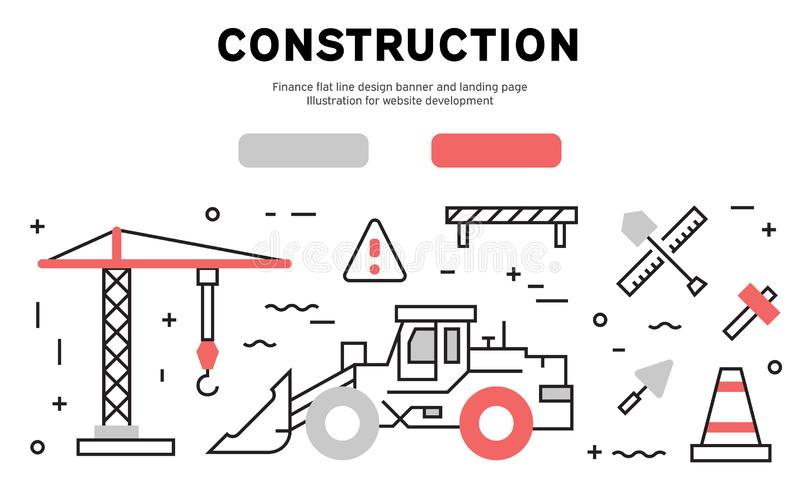 Construction flat line design banner and landing page. Illustration for website development royalty free illustration