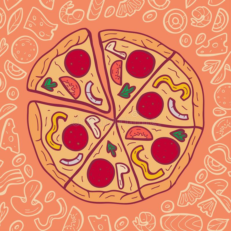 Vector color image of pizza with ingredients. Hand drawn vector illustration.  stock photo