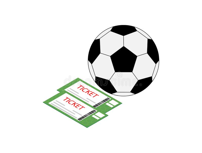 Icon two tickets for football and soccer ball isolated on white background stock illustration