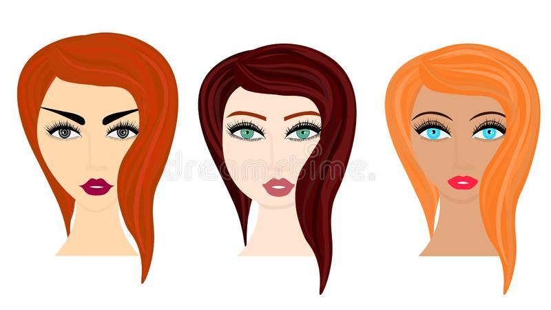 Web Vector cartoon style illustration of woman different hairstyles vector illustration
