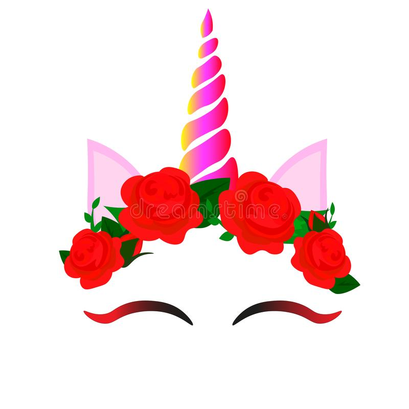 Web beautiful face, unicorn face with a wreath of roses flowers on a white background, vector. stock illustration