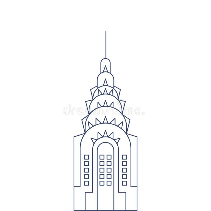 Vector Chrysler Building for coloring. Illustration for children coloring book stock illustration