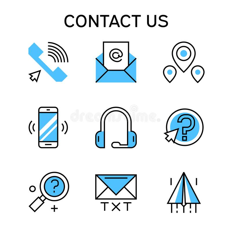 Flat line icons with blue color for contact company, contact team and business vector illustration