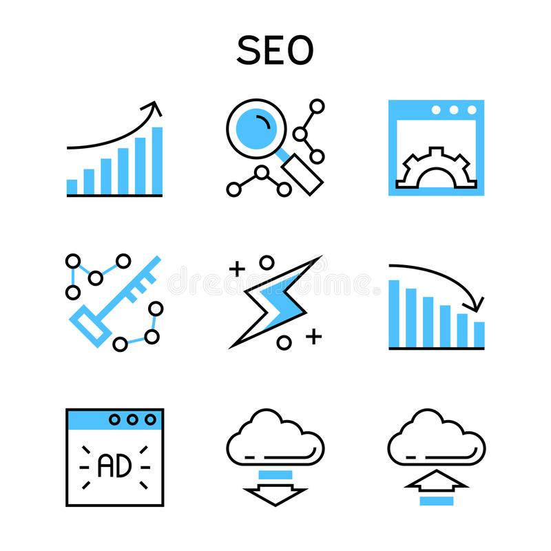 Flat line icons with blue color for search engine optimization and web development. royalty free illustration
