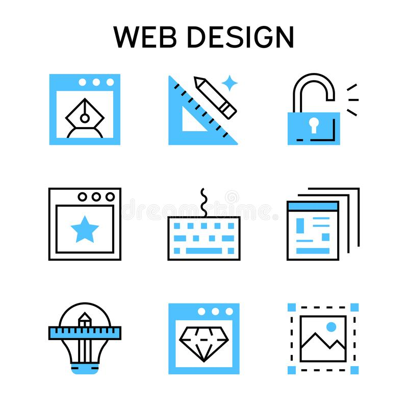 Flat line icons with blue color for web design, web designer, web development and networking. stock illustration