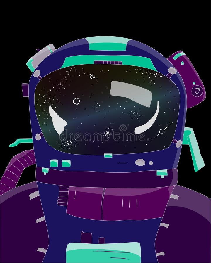 Astronaut on black background, stars and galaxies in reflection, vector illustration. Of space and universe royalty free illustration