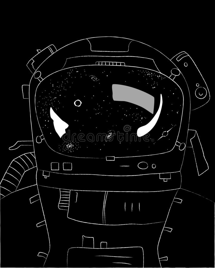 Astronaut on black background, stars and galaxies in reflection, vector illustration. Of space and universe stock illustration