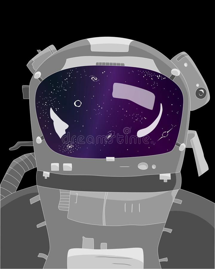Astronaut on black background, stars and galaxies in reflection, vector illustration. Of space and universe vector illustration