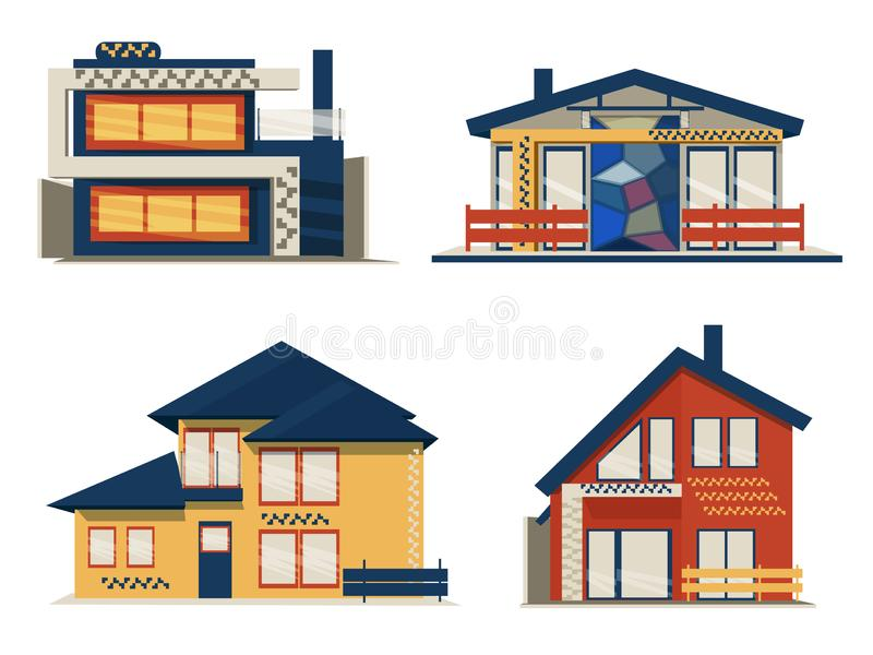 Set of Modern Scandinavian Cottage House royalty free illustration