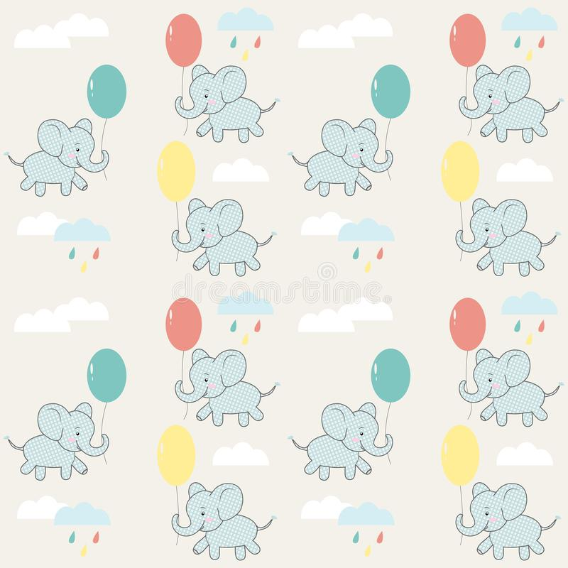 Children`s seamless pattern with elephants, clouds and balloons. Vector design. stock illustration