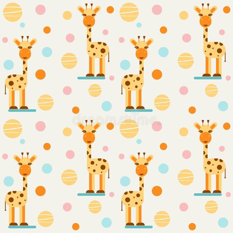 Children`s seamless pattern with giraffes and balls. Vector design. vector illustration