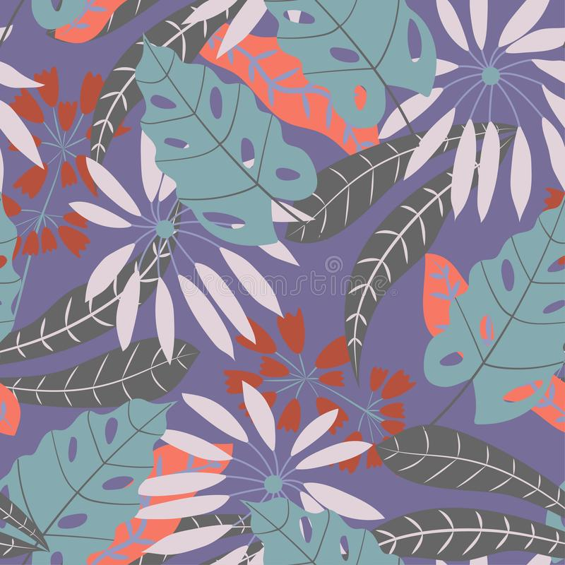 Seamless pattern with tropical leaves and plants in blue tones. Vector design. Flat jungle print. Floral background. Seamless pattern with tropical leaves and vector illustration