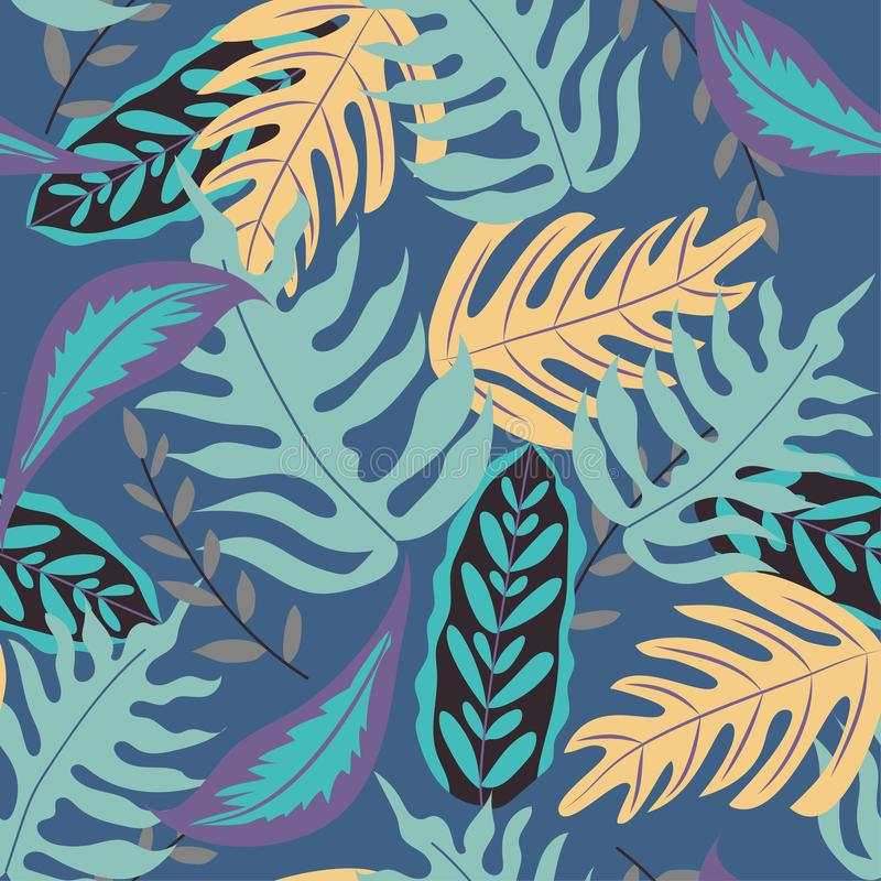 Seamless pattern with tropical leaves and plants in blue tones. Vector design. Flat jungle print. Floral background. Seamless pattern with tropical leaves and stock illustration