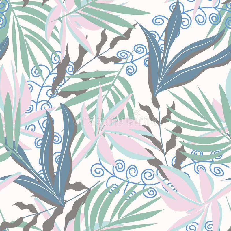 Seamless pattern with tropical leaves and plants in blue tones. Vector design. Flat jungle print. Floral background. Seamless pattern with tropical leaves and royalty free illustration