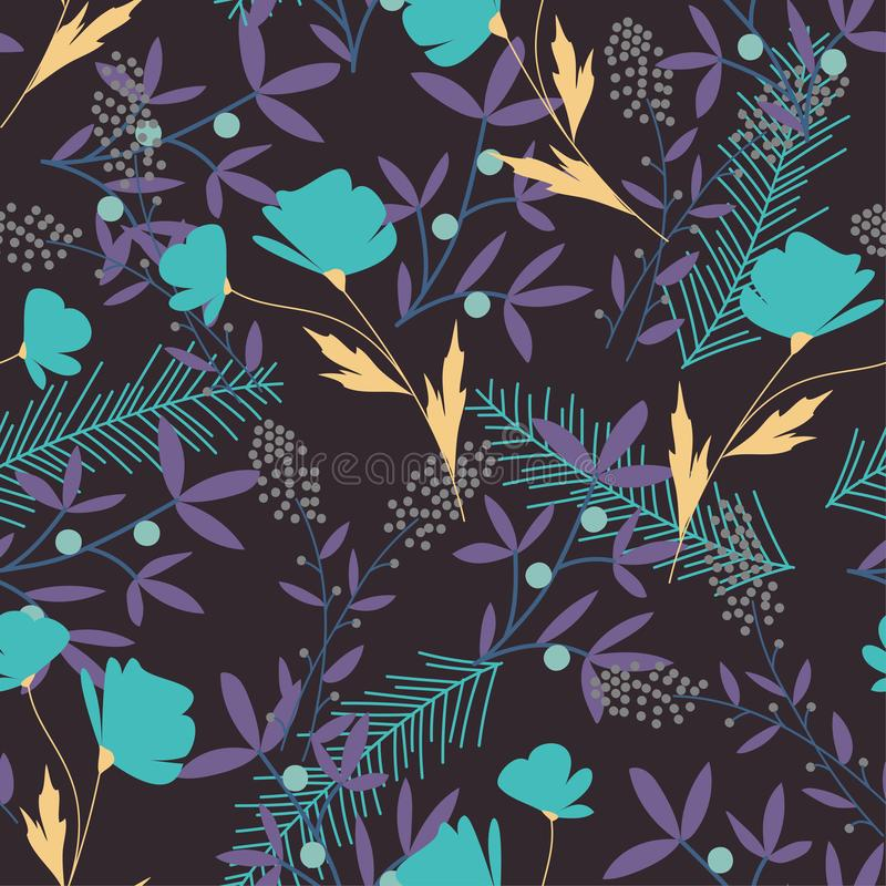 Seamless pattern with bright tropical plants on white background. Vector design. Flat jungle print. Floral background. Seamless pattern with bright tropical stock illustration