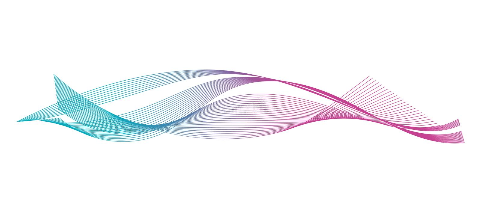 Wave of the many colored lines. Abstract wavy stripes on a white background isolated. stock illustration