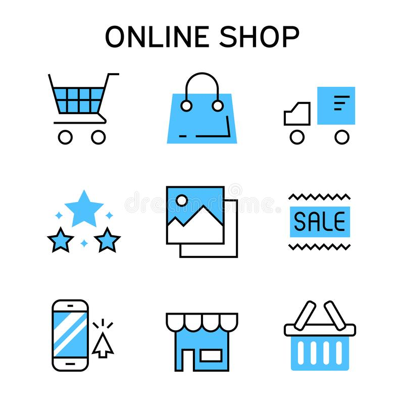 Flat line icons with blue color for online shopping, e-commerce, marketplace, shopping platform, website, and application stock illustration