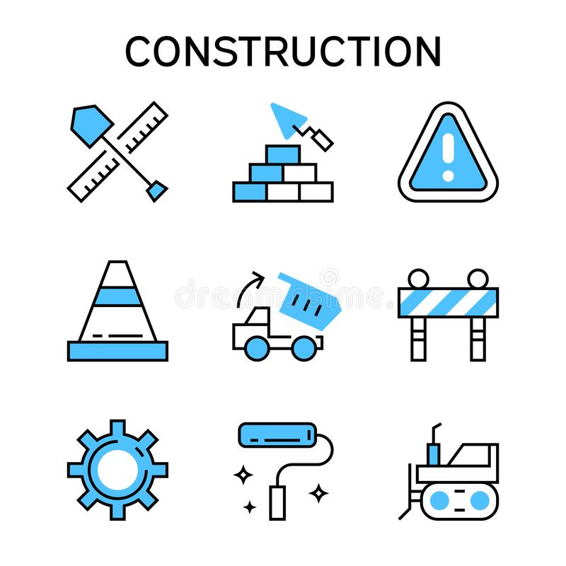 Flat line icons with blue color for construction, house building, project, and development vector illustration