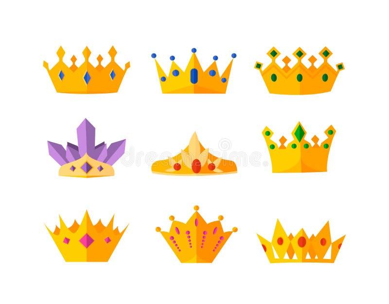 Set of vector gold crowns. vector illustration
