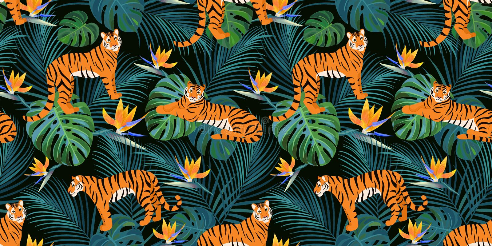 Trendy tiger pattern with tropical leaves and exotic flowers. Vector seamless texture. royalty free illustration