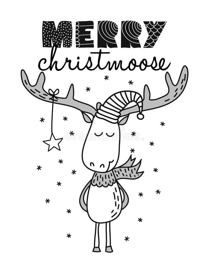 Merry Christmas CHRISTMOOSE stock illustration