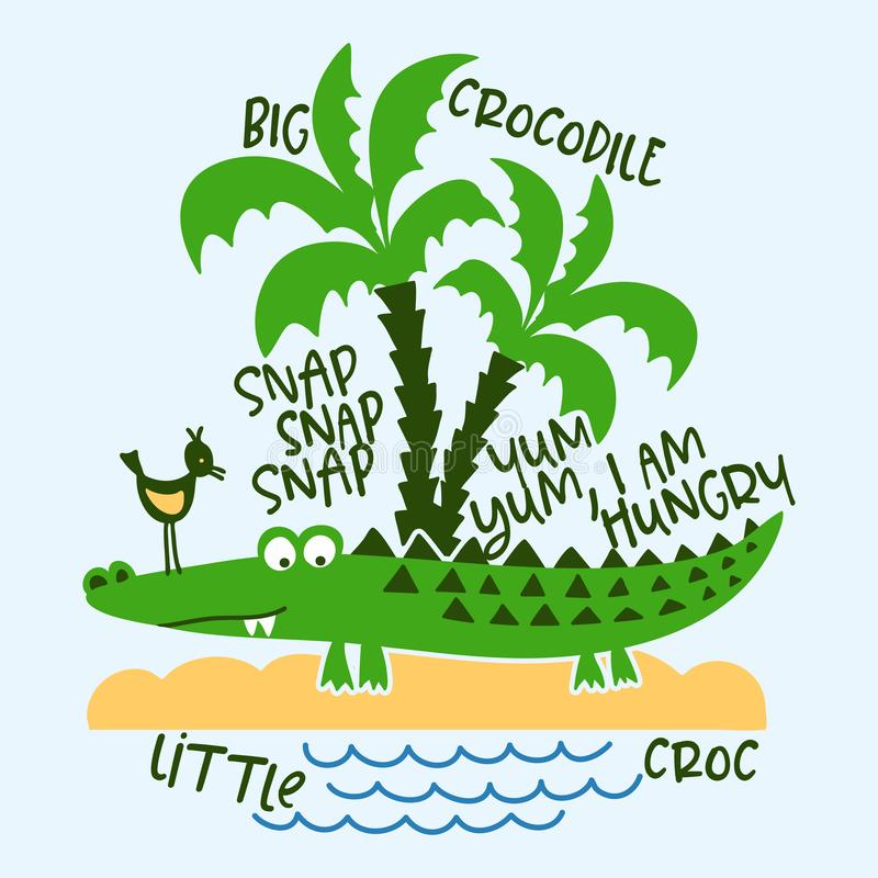 Crocodile and nature print design with text stock illustration