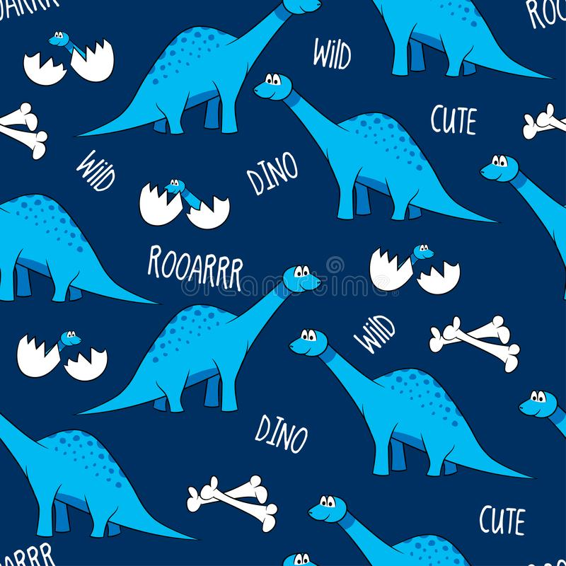 Funny cartoon dinosaurs, bones, and eggs with babies. Cute brontosaurus characters. Hand drawn vector doodle set for kids. Good for textiles, nursery stock illustration