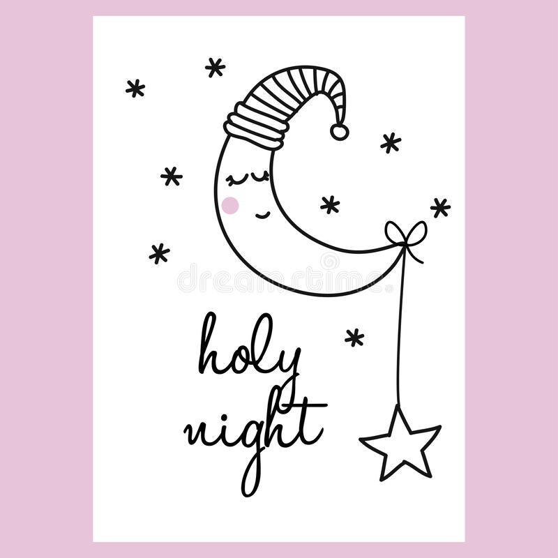 Holy night - funny hand drawn doodle, cartoon moon character. royalty free illustration