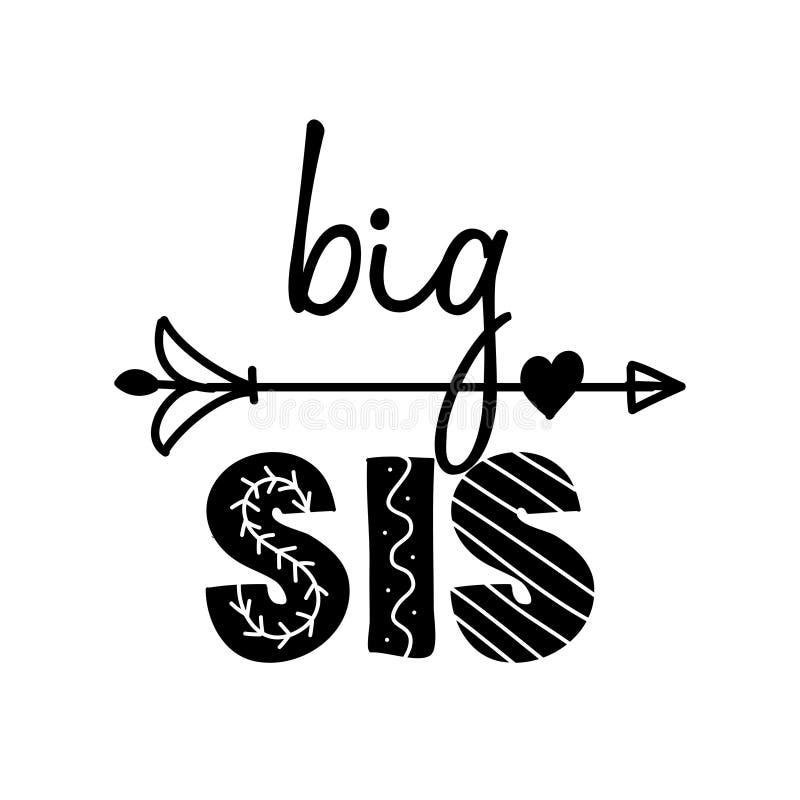 WebBig Sis, big Sister - Scandinavian style illustration text for clothes. Big Sis, big Sister - Scandinavian style illustration text for clothes. Inspirational royalty free illustration
